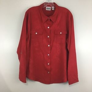 Chico's Design Red Silk Floral Button Down Blouse